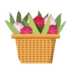 Cute basket with flowers vector