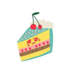 Cute delicious piece of cake cartoon character vector