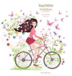 Cute young girl on a bike with butterflies and vector