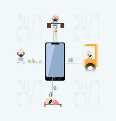 demonstration of using a smartphone during the day vector image