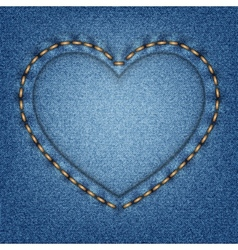 Denim texture with stitches in shape heart vector