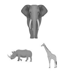 Different animals monochrome icons in set vector