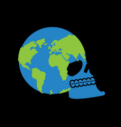 Earth skull head of skeleton is planet continents vector