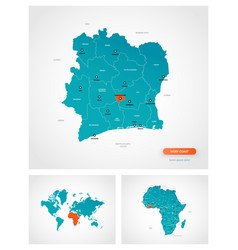 Editable template map ivory coast vector