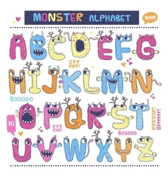 English monster alphabet vector image