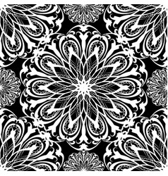 Floral black and white seamless mandala vector