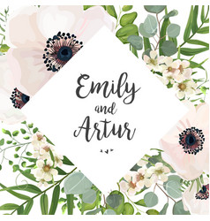 Floral wedding invite card design with flowers vector