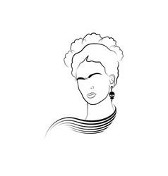 Frida kahlo portrait art line style vector