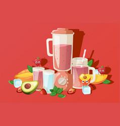fruit smoothie ingredients fresh summer beverage vector image