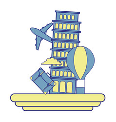 Full color leaning tower of pisa with air balloon vector