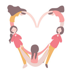 girls forming a valentine s heart shape with their vector image