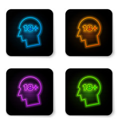 Glowing neon human head with inscription 18 plus vector