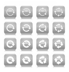 Gray arrow rotation sign square icon web button vector