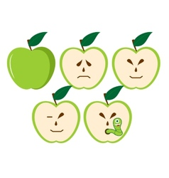 Green apples with different characters vector