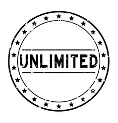 Grunge black unlimited word with star icon round vector