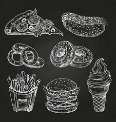 hand drawn popular fast food on blackboard vector image