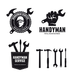 Handyman labels badges emblems and design elements vector