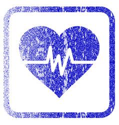 Heart pulse framed textured icon vector