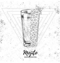 hipster realistic and polygonal cocktail mojito vector image