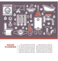 House plumbing web banner for promotion repair vector