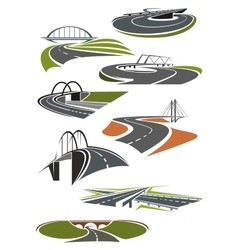 Icons of roads with bridges vector