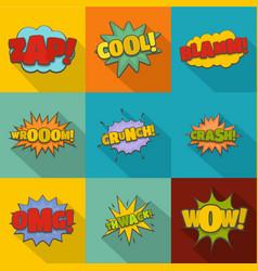impact icons set flat style vector image