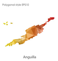 Isolated icon anguilla map polygonal geometric vector
