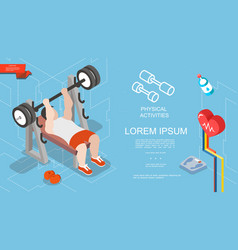 isometric sport and fitness concept vector image