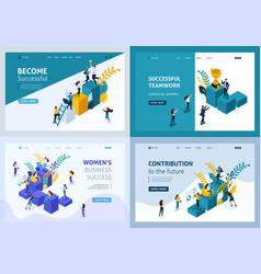 isometric teamwork concept success leadership vector image