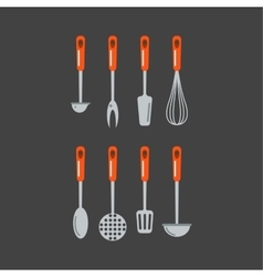 Kitchen home culinary equipment flat vector image