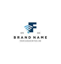 Letter f wireless logo design vector