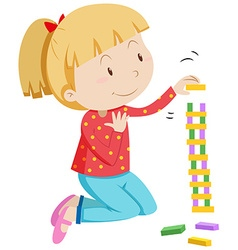 Little girl stacking wooden blocks vector