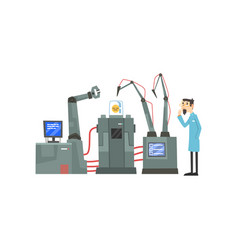 male scientist character and robotic arms working vector image