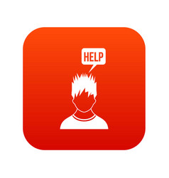 man needs help icon digital red vector image