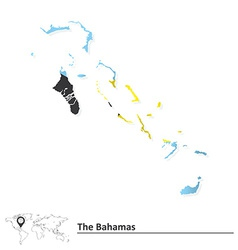 Map of Bahamas with flag vector