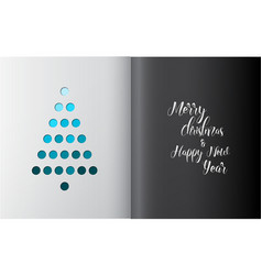 Minimalistic christmas tree made from holes vector