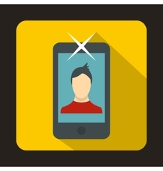 Mobile phone with photo icon flat style vector image