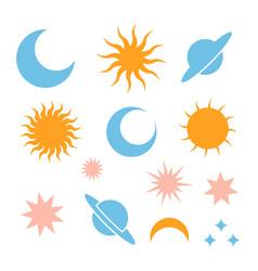moon eclipse stars saturn and sun vector image