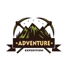 mountain climbing adventure logo vector image
