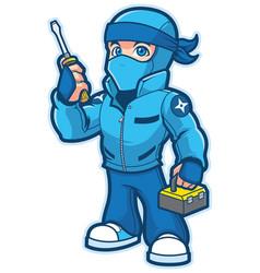 Ninja repairman mascot vector