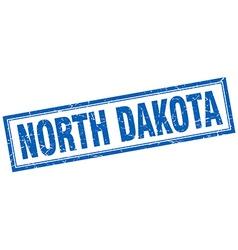 North Dakota blue square grunge stamp on white vector
