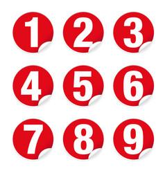 Number set sticker red vector
