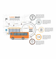 Orange bus at the bus stop on background of city vector