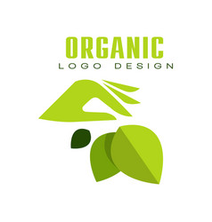 organic logo design healthy premium quality label vector image