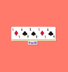 Paper sticker on stylish background poker pair vector