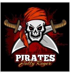 Pirate skull in red headband with cross swords vector