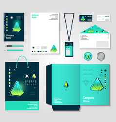 Polygonal crystals corporate identity items design vector