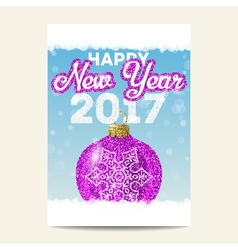 Purple christmas ball with silver snowflake happy vector