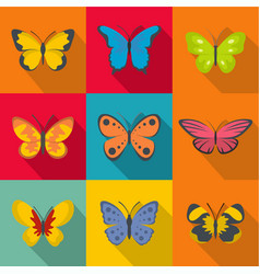Rare butterfly icons set flat style vector