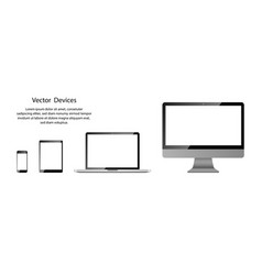 realistic phone tablet laptop and computer vector image